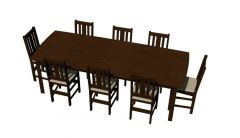 Wooden dinning table of six sitting for cafeteria 3d model .3dm fromat
