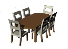 Simple designed dinning table sitting of six for cafeteria 3d model .3dm format