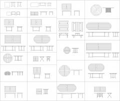 Garden tables CAD collection dwg