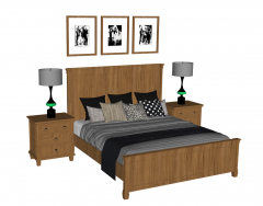 Brown bed with wooden bed table sketchup