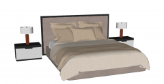 Bed design with 2 bed tables sketchup