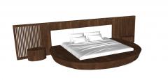 Wooden circle bed sketchup