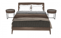 Bed with leather cover and 2 circle bed side table sketchup