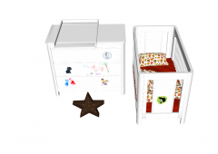 Baby bed and toys sketchup