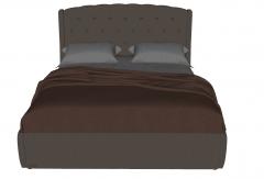 Dark brown bed with dark red blanket sketchup