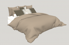 White bed with brown blanket sketchup