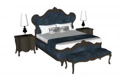 Navy velvet bed sketchup