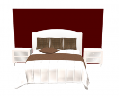 White wooden bed white white side bed table sketchup