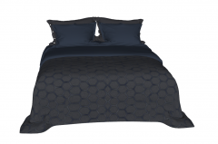 Bed with navy cushion and pillow sketchup