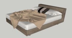 Wooden bed with brown blanket and white cushion sketchup