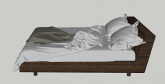 Wooden bed with cushion and blanket sketchup