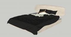 Brown wooden bed with dark blanket sketchup