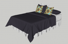 Bed with dark violet blanket and flower pillow sketchup