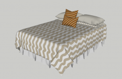 Bed with 2 white pillow sketchup