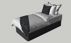 Single bed with dark cushion and white blanket sketchup