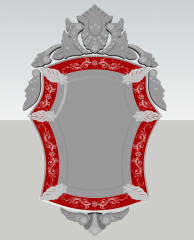 Decorative mirror with gray and red metal wing frame sketchup
