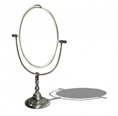 Table oval mirror with steel footing sketchup