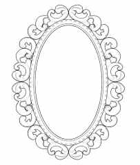 Oval mirror with parget border sketchup