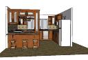 バースツールと茶色のキャビネットskpのキッチンデザイン