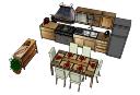 дизайн кухни с обеденным столом (6 стульев) скп