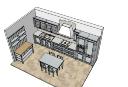 灰色のキャビネットと灰色のダイニングテーブル付きのキッチンデザイン