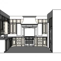 cocina de diseño con mueble blanco y horno a gas (6 quemadores) y 2 lavabos skp