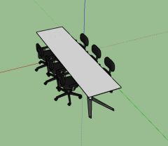 wooden designed meeting table with sitting 3d model .skp format