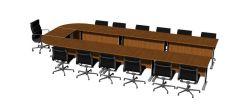 Meeting table semi circle design 3d model .3dm format