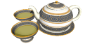 фарфоровый зеленый чайник и 2 чашки skp