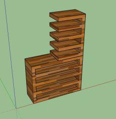 wooden designed professional rack design 3d model .skp format
