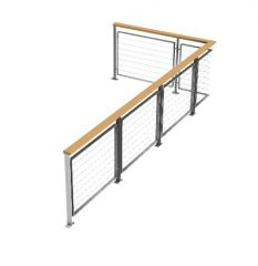 modern wooden handrill railing 3d model .3dm format