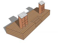 modern designed rostrum 3d model .skp format