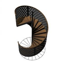 modern designed spiral staircase designed with wooden steps 3d model .3dm fomrat