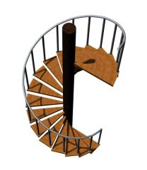 spiral staircase with landing 3d model .3dm format