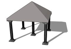 Slopping roof designed stanchion with a modern look 3d model .skp format