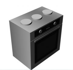 Small designed kitchen stove with three burners 3d model .3dm format