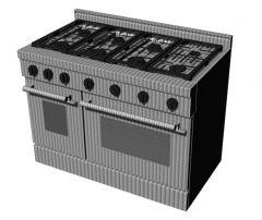 Modern six designed kitchen stove 3d model .3dm format