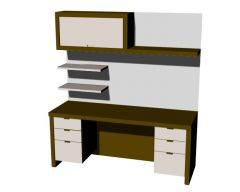 Small study table designed with shelves 3d model .3dm format
