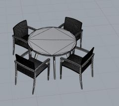Table and chairs 3dm model