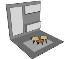 Modern wooden designed gazebo table top 3d model .skp format