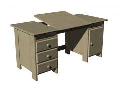 Writing desk designed with angled base 3d model .3dm format